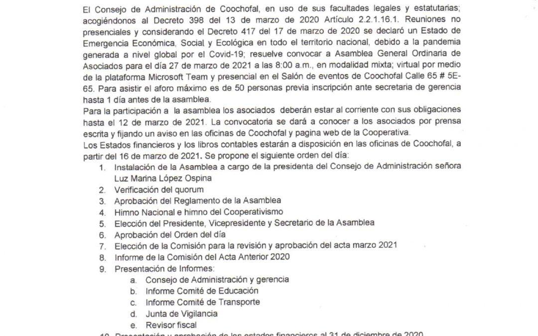 """CONVOCATORIA A LA ASAMBLEA GENERAL ORDINARIA """"COOCHOFAL"""" 2021"""